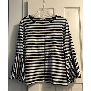 Loft Striped tee with bell sleeves